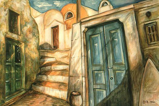 Art America Gallery Peter Potter - Romantic Santorini Lane - Watercolor