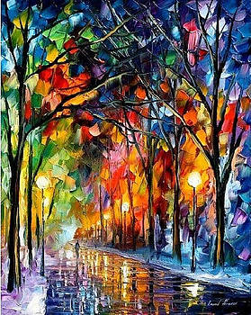 Romantic Winter 2 - PALETTE KNIFE Oil Painting On Canvas By Leonid Afremov by Leonid Afremov