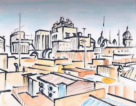 Rooftops of Barcelona sketch by Vic Delnore