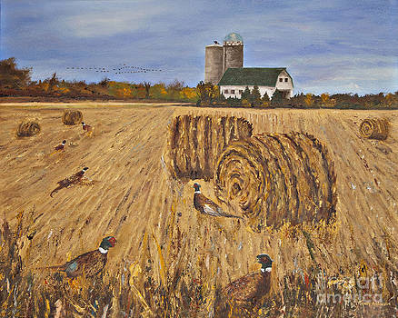 Roosters Among the Roundbales by Terry Anderson