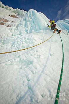 Ropes Along Ice Climb by Mike Wilkinson