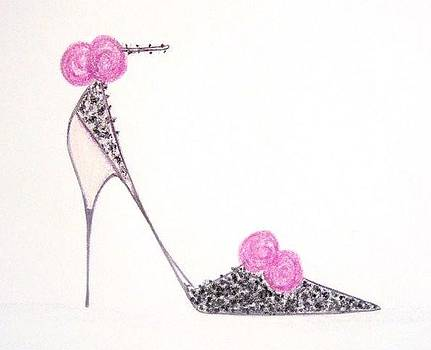 Rose and Lace Shoe by Christine Corretti