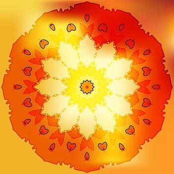 Rose gold sun petal flower shell on yellow by Larisa Karpova