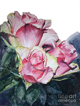 Watercolor of a Bouquet of Pink Roses I call Rose Michelangelo by Greta Corens