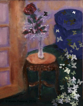 Rose with Butterflies by Karen Francis