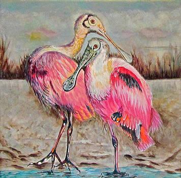 Roseate Spoonbills by Susan Duxter