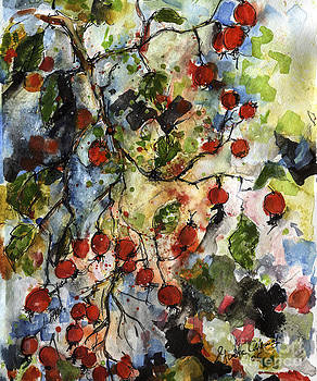 Ginette Callaway - Rosehips by Ginette Watercolor and Ink