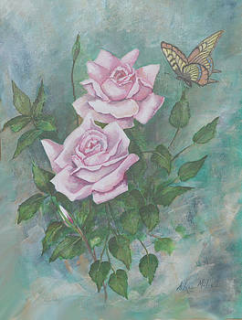 Roses and Butterfly by Aileen McLeod