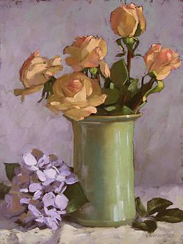 Roses and Hydrangea by Sarah Blumenschein