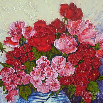 Roses and Peonies in a Vase by Paris Wyatt Llanso