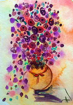 Patricia Lazaro - Roses and petunias Pottery