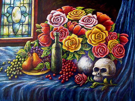 Roses and Skull by Sebastian Pierre