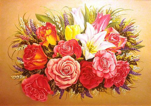Roses And Tulipes by Irina Sumanenkova