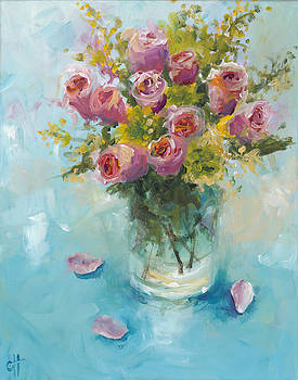 Roses in a Glass Vase by Cari Humphry