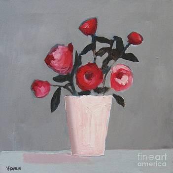 Roses In A Pink Vase by Venus