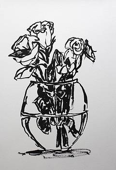 Roses in a round vase by Owen Hunt