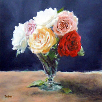 Roses in a Trumpet Vase by Jill Brabant