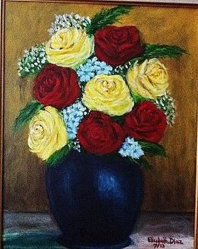 Roses in blue vase by Elizabeth Diaz