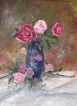 Irene Pomirchy - Roses in blue vase
