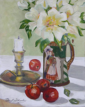 Roses in earthen ware jug by Winifred Lesley