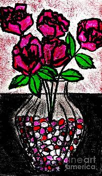 Roses In Glass Vase With Colored Peebles by Neil Stuart Coffey