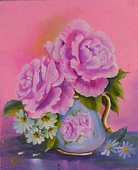 Roses In Jug by Fineartist Ellen