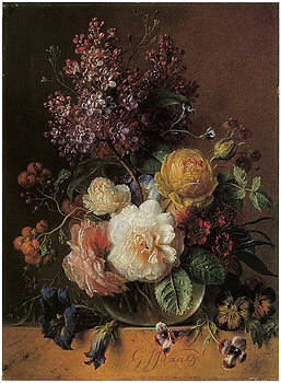 Georgius Jacobus Johannes Van Os - Roses Lilacs Sweet William and Other Flowers