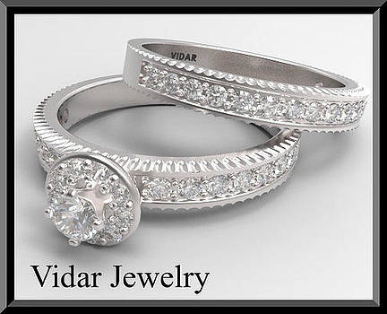Round Diamond 14k White Gold Wedding Ring And Engagement Ring Set by Roi Avidar