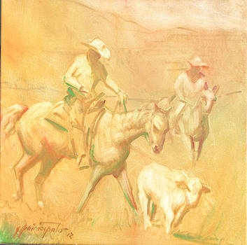 Rounding up stray at Star Ranch by Ernest Principato
