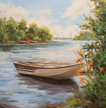 Rowboat docked on Lake by Michele Tokach