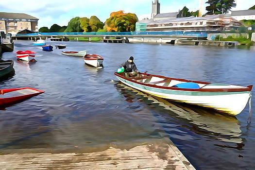 Charlie Brock - Rowing on the River - Irish Art by Charlie Brock