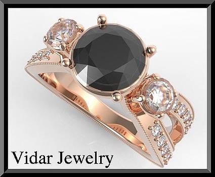 Royal 14k Rose Gold Black Diamond Engagement Ring by Roi Avidar