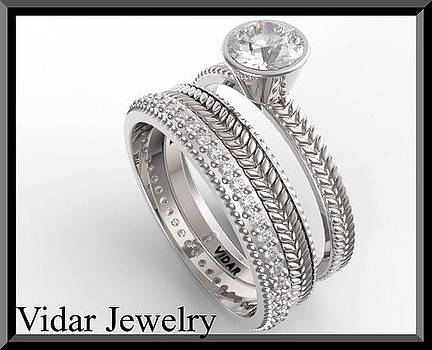 Royal 14k White Gold Diamond Wedding Ring And Engagaement Set by Roi Avidar