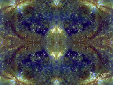 Royal Blue and Gold Lace Abstract Space Art by Animated Sentiments