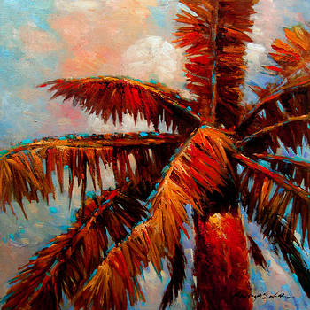 Royal Palms 1 - colorful tropical palms painting by Kanayo Ede