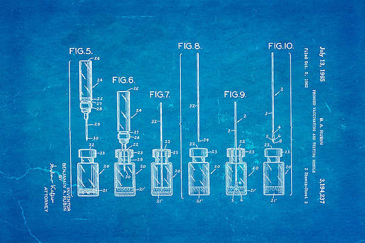 Ian Monk - Rubin Vaccinating Needle 2 Patent Art 1965 Blueprint