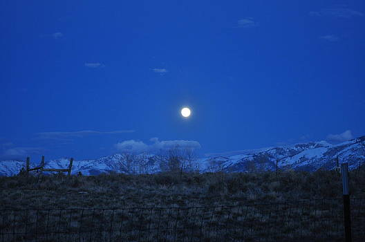 Ruby Mountains Nevada Night Sky And Moon By Brigette Hollenbeck
