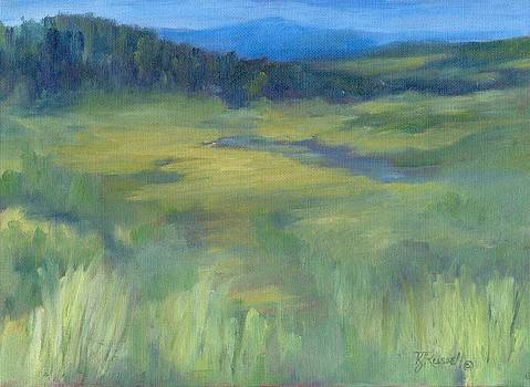 Rural Valley Landscape Colorful Original Painting Washington State Water Mountains K. Joann Russell by Elizabeth Sawyer