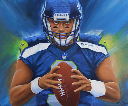 Russell Wilson Seattle Seahawks by Angie Villegas