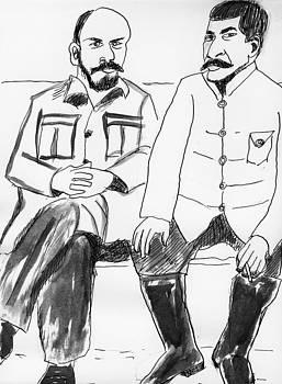 Russians Vladimir Lenin and Joseph Stalin by Allen Forrest