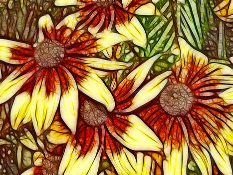 Maria Holmes - Rust and Yellow Daisies