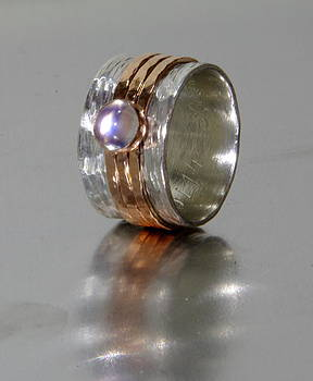 Rustic Band Style Spinner with Personalization and Rainbow Moonstone - Unique wedding ring for woman by Nadina Giurgiu