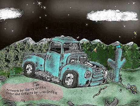 Rustic Cartoon Truck  by Lisa  Griffin