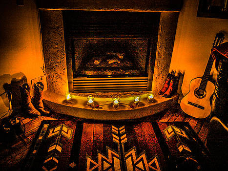 Rustic Fireplace by Richard Brown