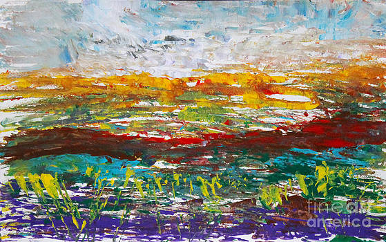 Rustic Landscape abstract by Anne Cameron Cutri