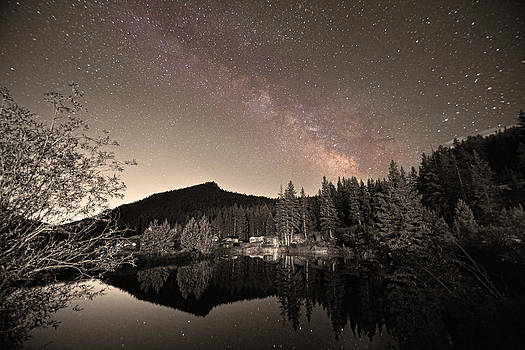 James BO Insogna - Rustic Rocky Mountain Cabin Milky Way Sepia View