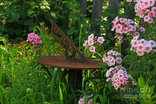 Rusty Sundial and Phlox  by Roger Soule