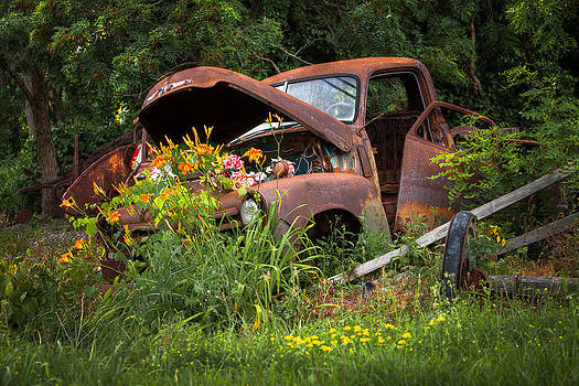 Rusty Truck Flower Bed - Charming Rustic Country by Gary Heller