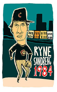 Ryne Sandberg Chicago Cubs by Jay Perkins