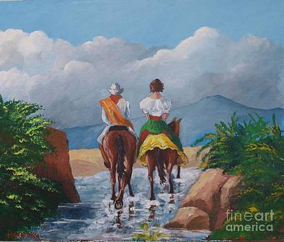Sabanero and wife crossing a river by Jean Pierre Bergoeing